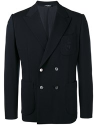 Dolce And Gabbana Bee Crown Embroidered Jacket Blue