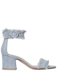 Gianvito Rossi 60Mm Portofino Fringed Denim Sandals