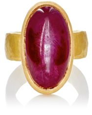 Malcolm Betts Women's Ruby Cabochon Ring Gold