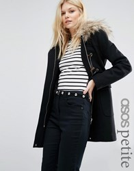 Asos Petite Wool Blend Faux Fur Hooded Duffle Coat Black