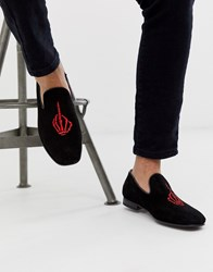 Jeffery West Martini Embroidered Loafers In Black Suede