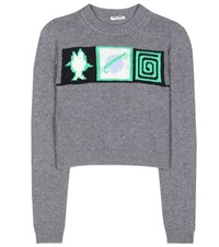 Miu Miu Cropped Cashmere Sweater Grey