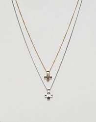 Burton Menswear Double Cross Necklace In Silver And Gold Multi