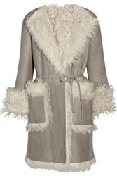 Tomas Maier Reversible Shearling Coat Light Gray