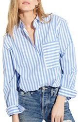 Ayr The Deep End Stripe Shirt Blue White Stripe