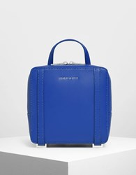 Charles And Keith Top Handle Square Backpack Blue