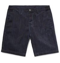 Massimo Alba Slim Fit Striped Linen And Cotton Blend Shorts Navy