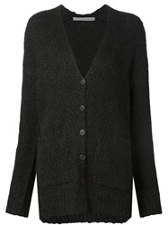 Raquel Allegra Boyfriend V Neck Cardigan Black
