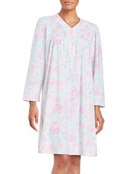 Miss Elaine Fleece Floral Print Nightgown Pink