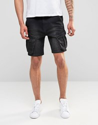 Asos Slim Fit Denim Shorts With Cargo Styling In Black Black