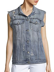 Rails Elsa Distressed Denim Vest Vintage Wash