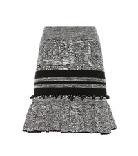 Alexander Mcqueen Wool And Silk Knitted Skirt Black