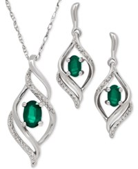 Macy's Emerald 9 10 Ct. T.W. And Diamond Accent Earring And Pendant Necklace Set In Sterling Silver