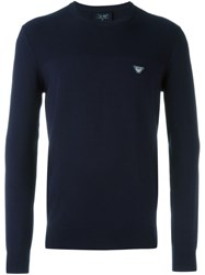 Armani Jeans Crew Neck Jumper Blue