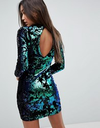 Missguided Sequin And Velvet Cut Out Back Bodycon Mini Dress Green