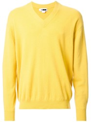 H Beauty And Youth. V Neck Dropped Shoulder Jumper Yellow Orange
