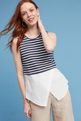 Anthropologie Terry And Poplin Striped Tank Top Navy