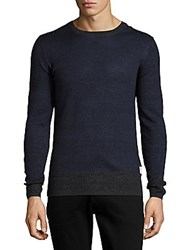 Scotch And Soda Linen Cotton Blend Rib Knit Pullover Worker Blue