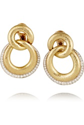David Webb 18 Karat Gold Platinum And Diamond Clip Earrings