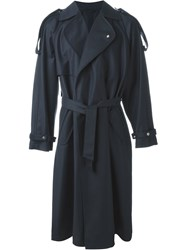 E. Tautz Double Breasted Trench Coat Blue