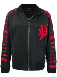 Philipp Plein Embroidered Track Jacket Black