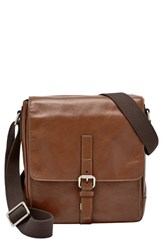 Men's Fossil 'Davis' Leather Messenger Bag Metallic Cognac