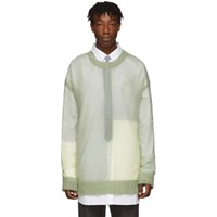 Jil Sander Green Open Knit Regular Fit Sweater