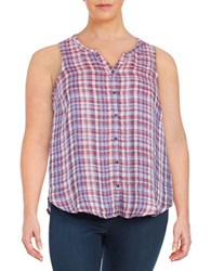 Lucky Brand Plus Linen Sleeveless Blouse Multi