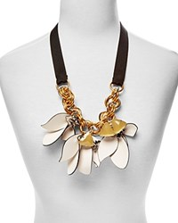 Marni Leather Flower Statement Necklace 26 White Gold