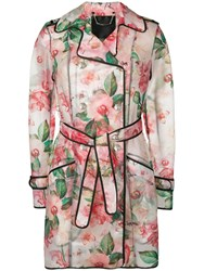Philipp Plein Floral Trench Coat Pink