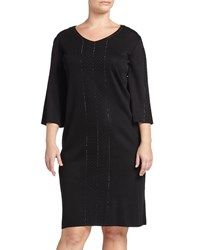 Ming Wang Three Quarter Sleeve Studded Tunic Dress Black