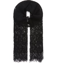Valentino Floral Lace Scarf Black