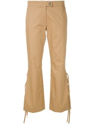 Marco De Vincenzo Lace Tied Tailored Trousers Nude And Neutrals