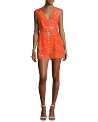 Diane Von Furstenberg Sleeveless Side Tie Silk Romper Red