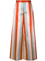 Red Valentino Striped Pants Women Silk Polyester Acetate 40 Red