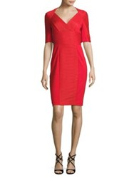 Nue By Shani Ribbed Solid Dress Red