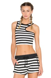Solow Side Cut Out Crop Tank Black And White