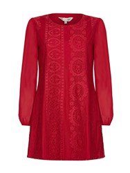 Yumi Shift Dress With Floral Lace Red