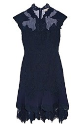 Jonathan Simkhai Jersey And Tulle Trimmed Corded Lace Mini Dress Indigo