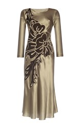 Alberta Ferretti Floral Embroidered Silk Combo Midi Dress Tan
