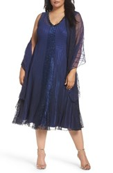 Komarov Plus Size Women's Embellished Mixed Media A Line Dress With Wrap Navy Black Ombre