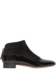 Giorgio Armani 20Mm Patent Leather And Suede Ankle Boots Black