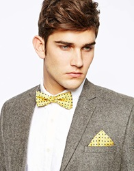 Selected Jim Bowtie And Pocket Square Yellow