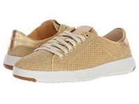 Cole Haan Grandpro Tennis Stitchlite Metallic Gold Optic White Shoes Yellow