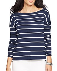 Lauren Ralph Lauren Striped Boat Neck Tee