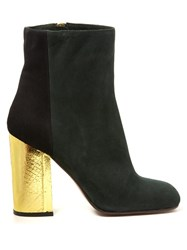 Marni Bi Colour Suede Boots Black Green