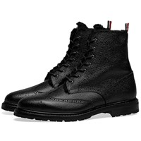 Thom Browne Shearling Lined Classic Wingtip Boot Black
