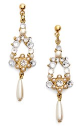 Women's Halo And Co Crystal And Faux Pearl Chandelier Earrings