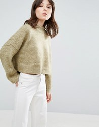 Native Youth Boxy Loose High Neck Jumper Light Olive Green