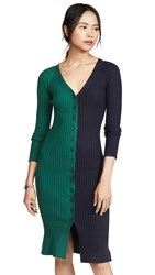 J.O.A. Colorblock Sweater Dress Navy Green